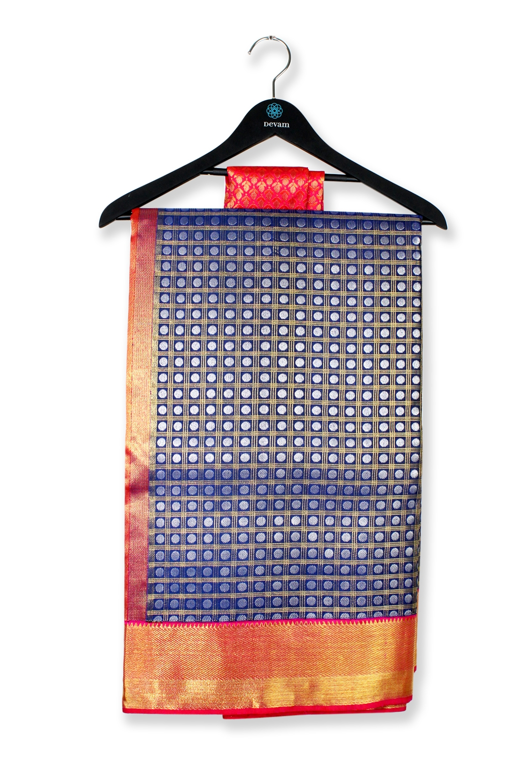 Navy & Pink Real Jari Silk Kanjeevaram Saree