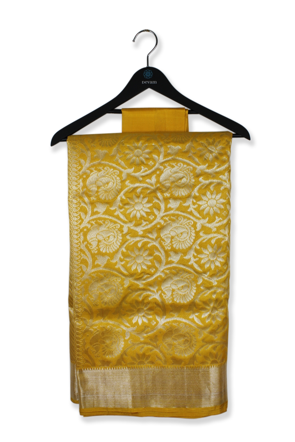 Golden Yellow Floral Spirals Silk Kanjeevaram Saree