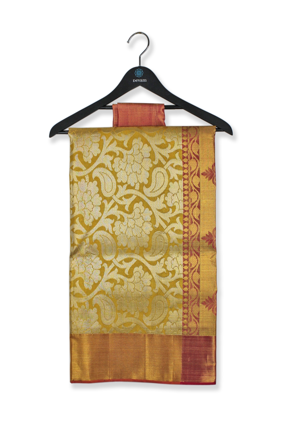 Golden Red and Yellow Silk Kanjeevaram saree