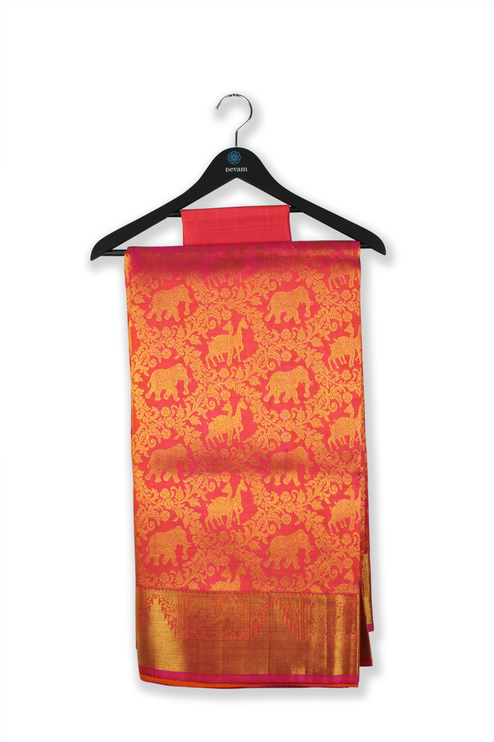 Animals On Parade Fuchsia Red Silk Kanjeevaram Saree