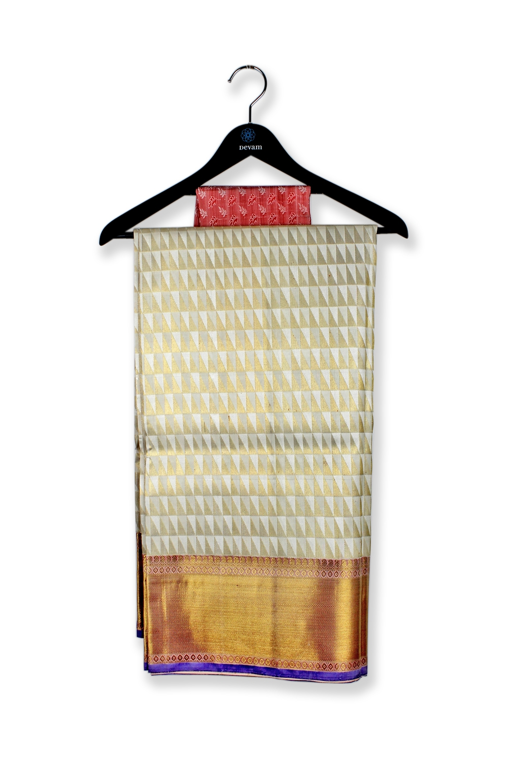 Triangular Golden Silk Kanjeevaram Saree