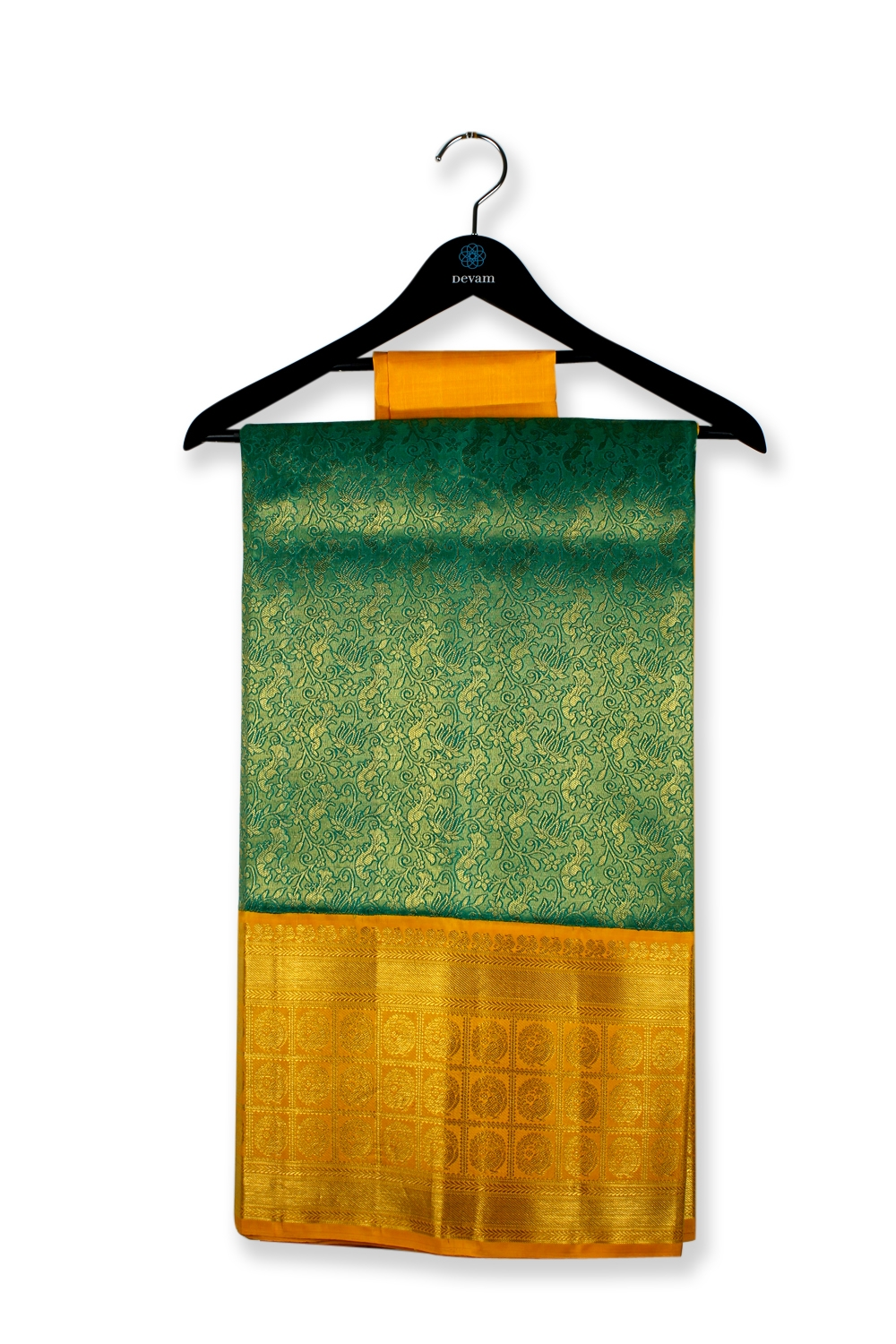 Endless Emerald Forest Silk Kanjeevaram Saree
