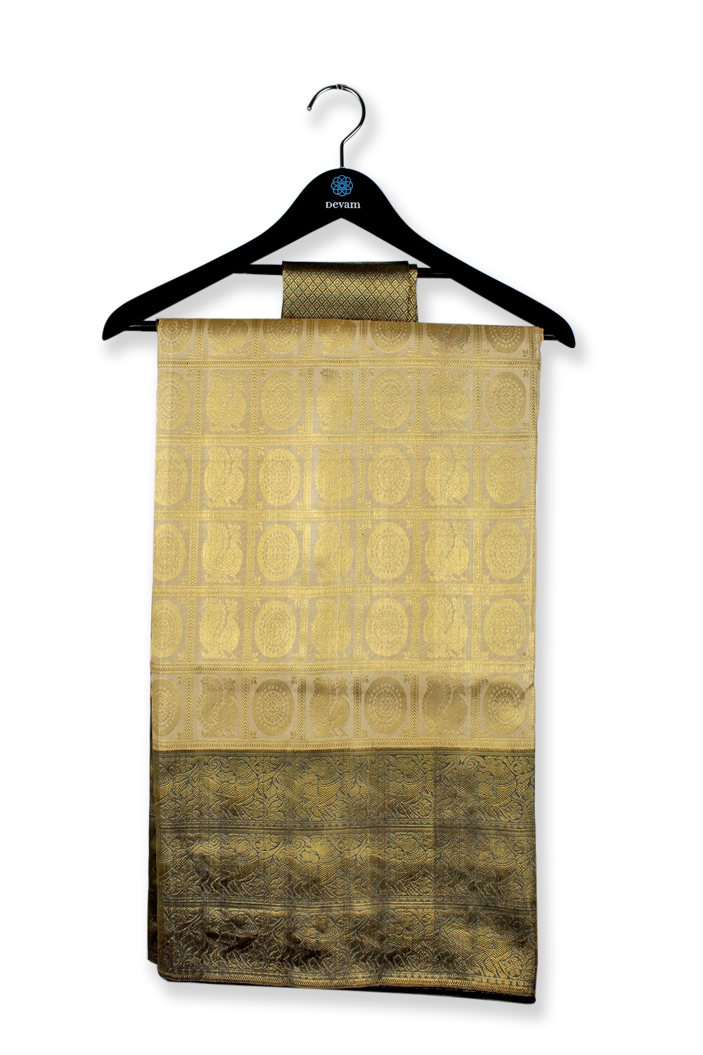 Beige , Gray & Gold Silk Kanjeevaram Saree