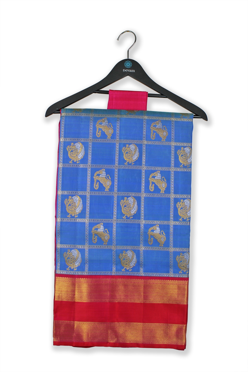 Animals On Parade Blue And Gold Checkered Silk Kanjeevaram Saree