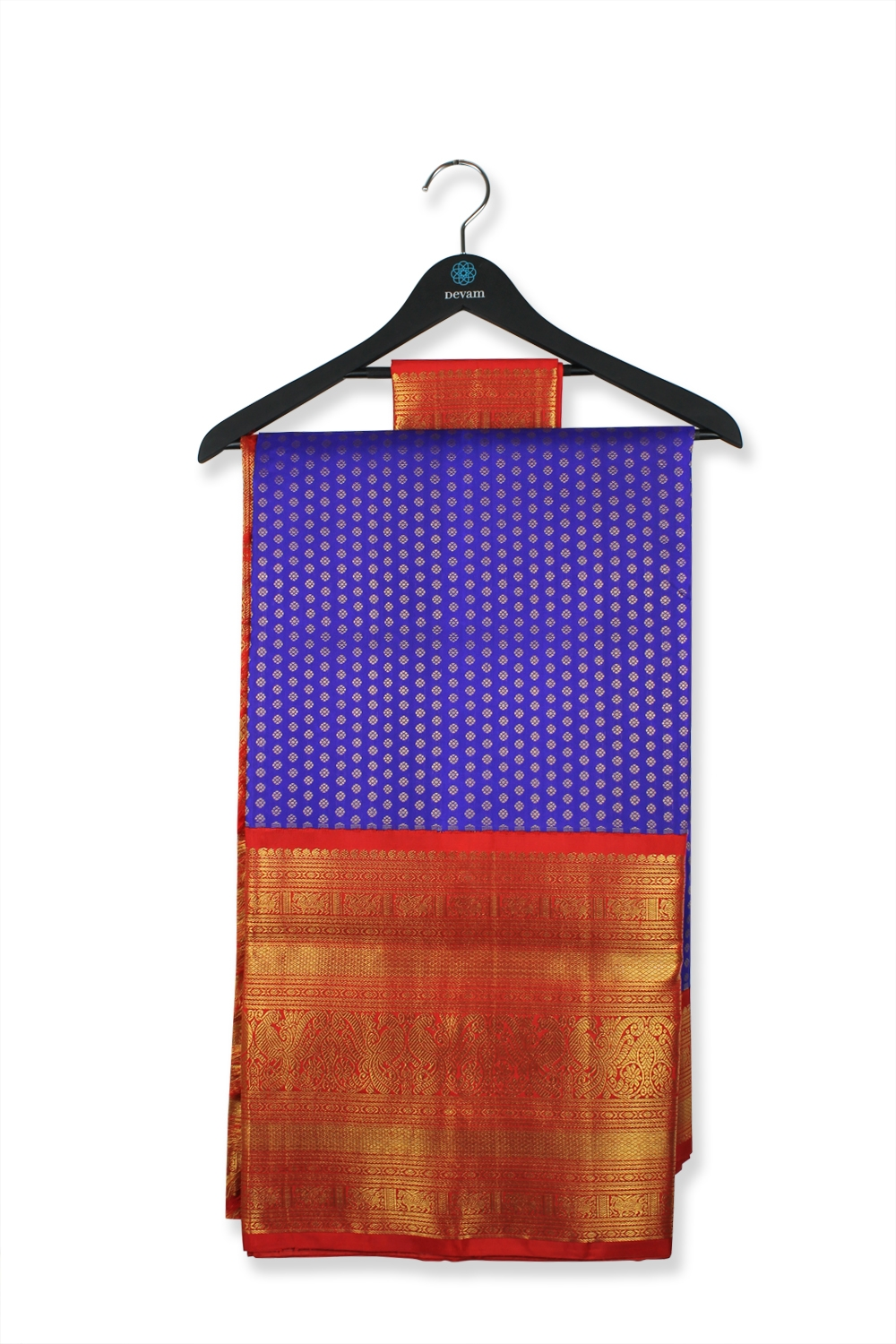 Blue & Red Large Bordered Silk Kanjeevaram Saree
