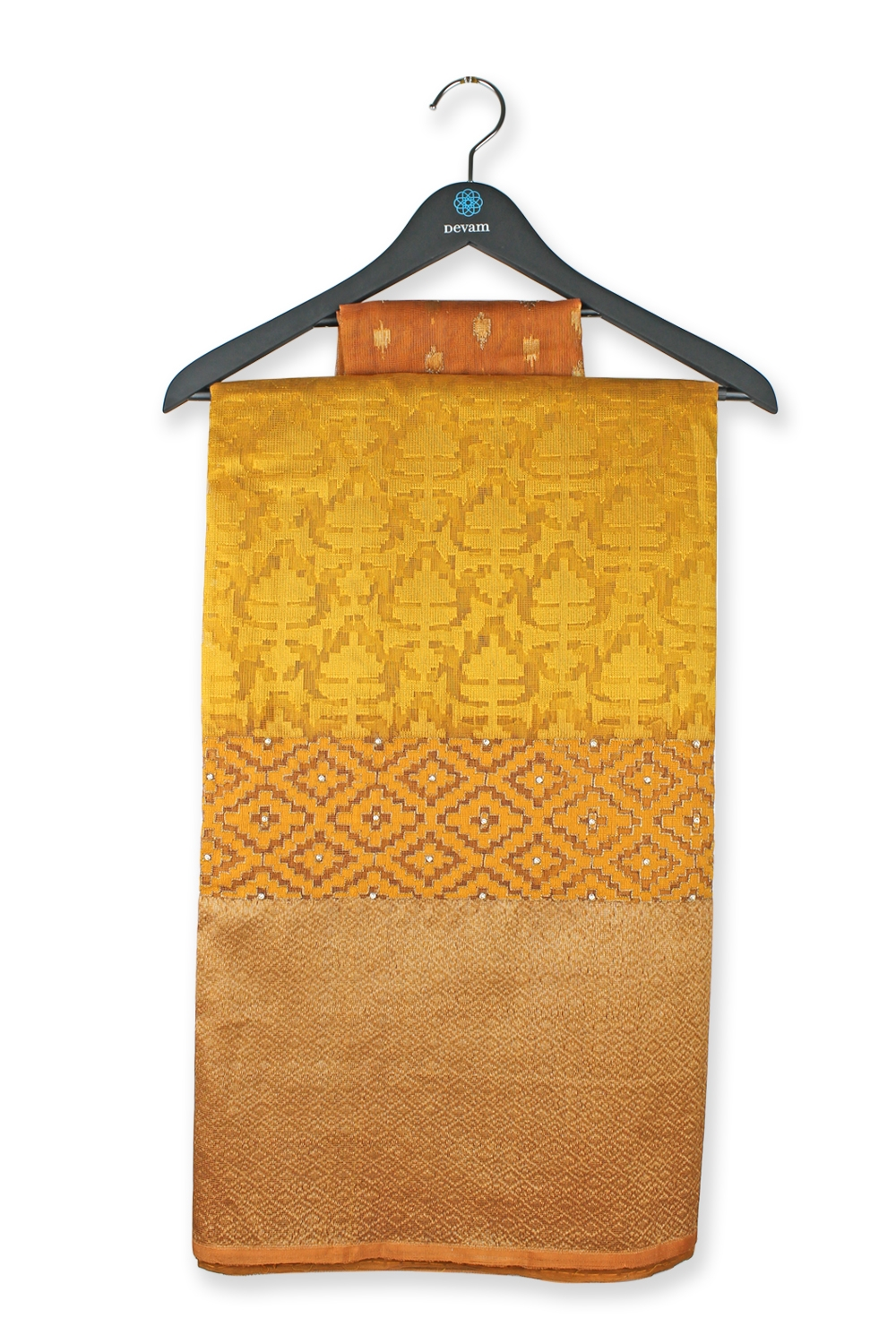 Golden Bananasi Hand Loom Net Embroidered Silk Saree
