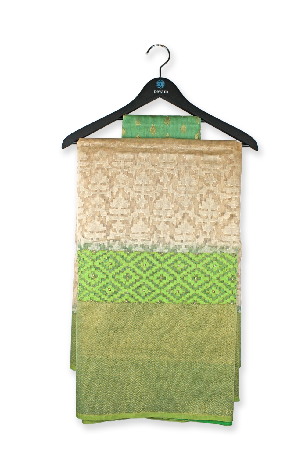 Bright Golden Green Handloom Net Silk Banarasi Saree