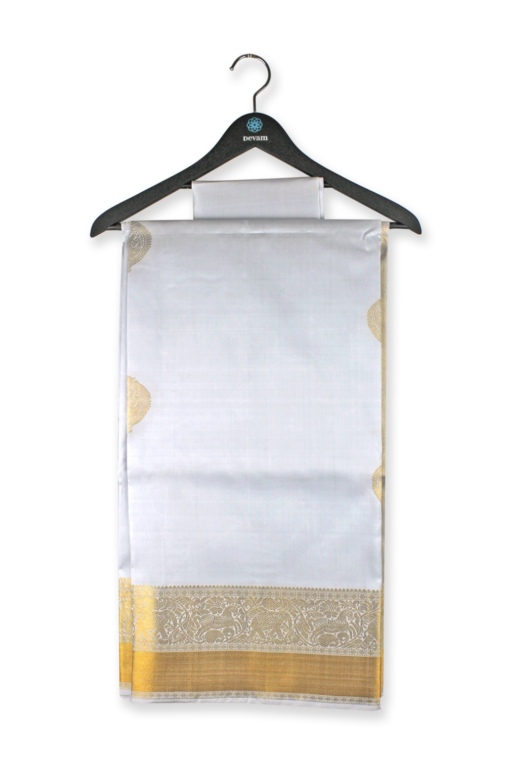 Elegant Silver And Gold Real Jari Silk Kanjeevaram Saree