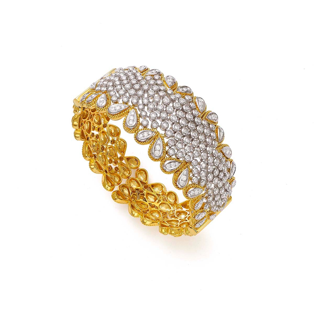 Elegant Golden Two Tone Diamond Bracelet