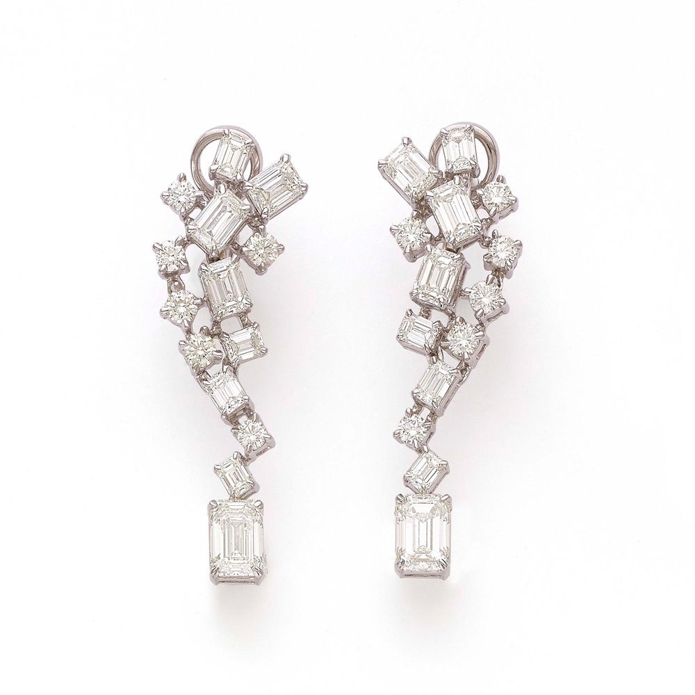 Emerald Cut Cascade Diamond Earrings