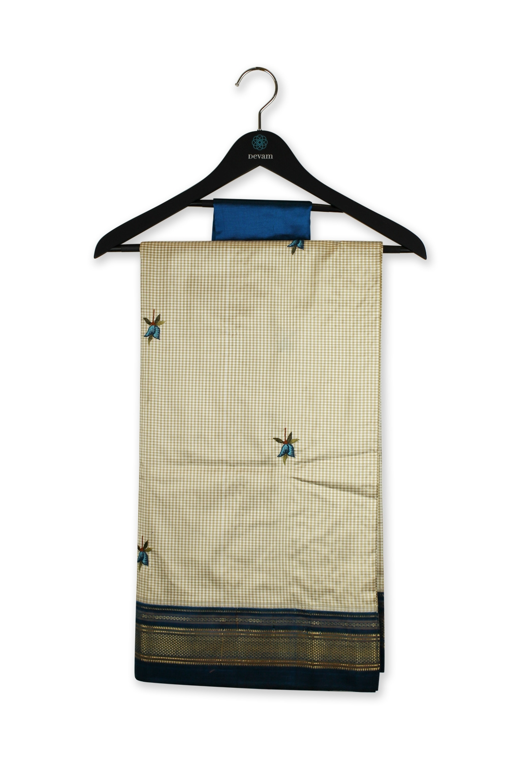 Tan & Navy Peacock South Silk Hand Embroidered Silk Saree