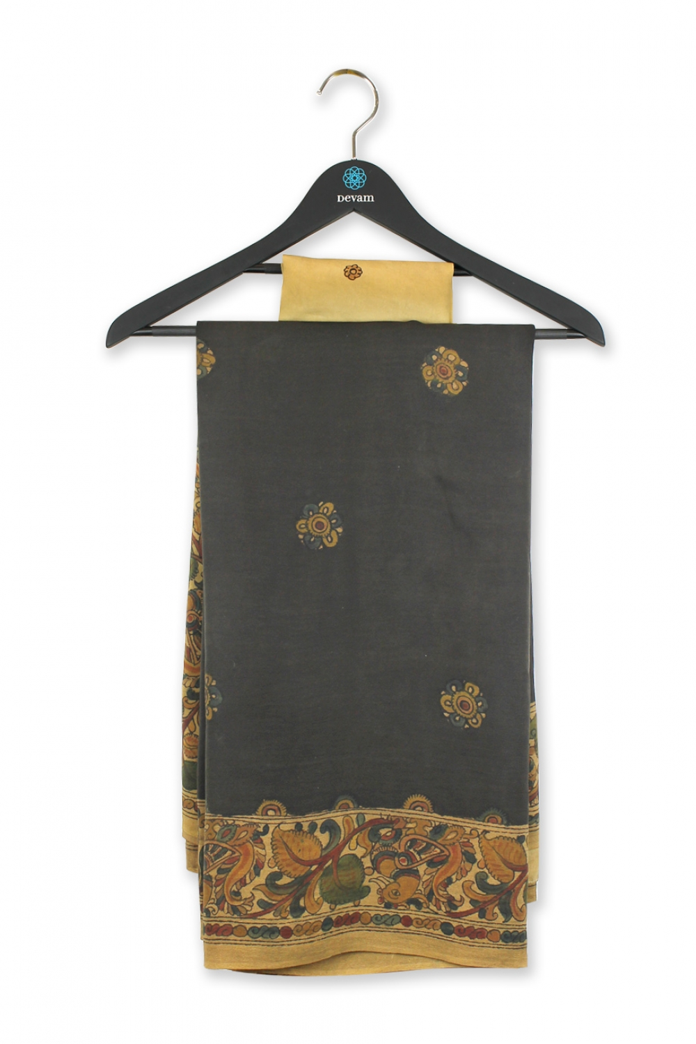Dark Gray Kalamkari Hand Embroidered Silk Saree