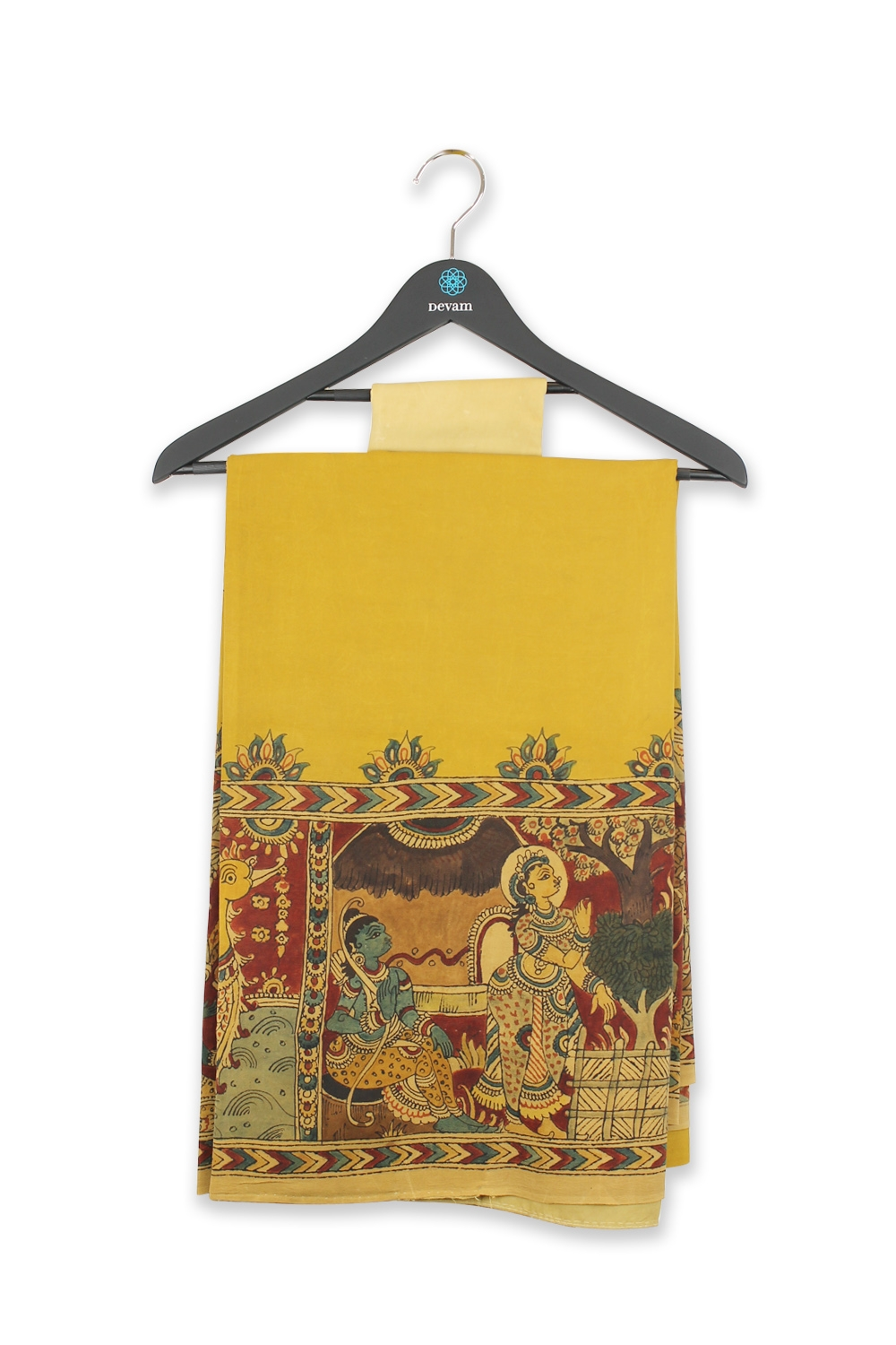 Mustard Yellow Kalamkari Hand Painted Silk Saree