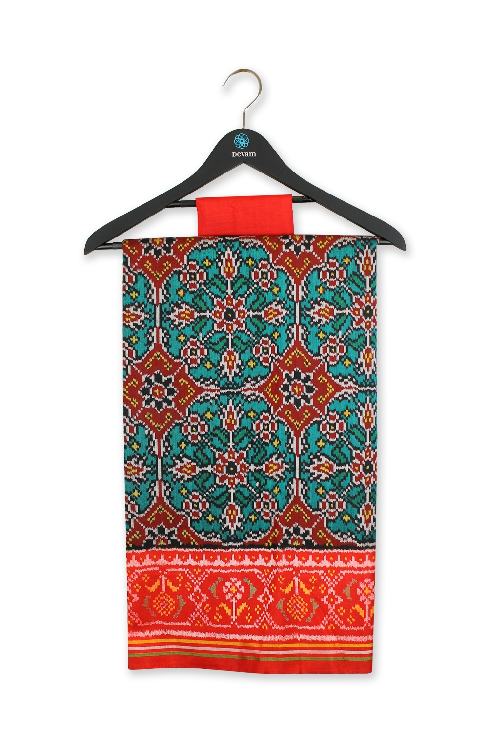 Teal & Fiery Red Single Ikkat Silk Patola Saree