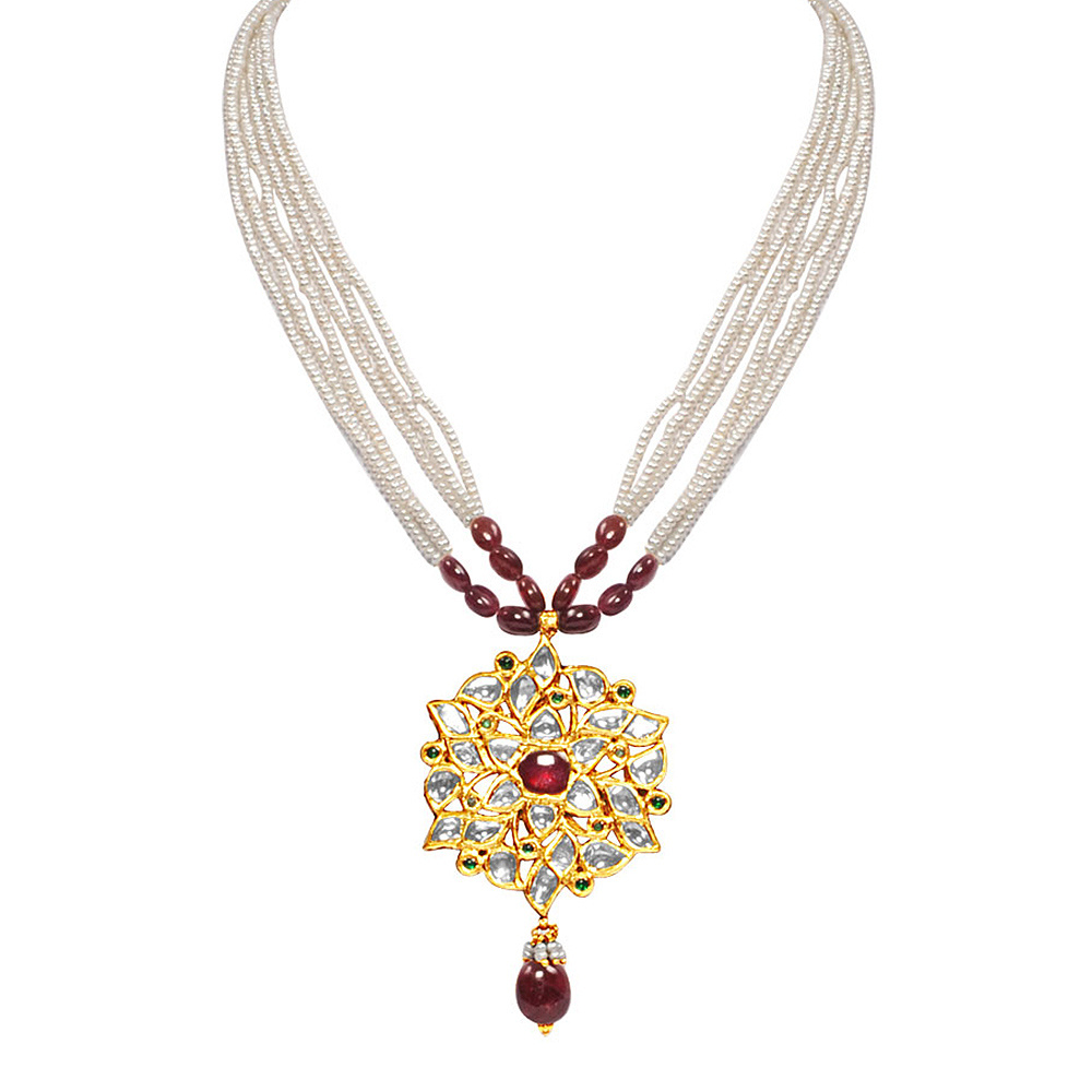 Kundan & Ruby Sunburst Necklace Set