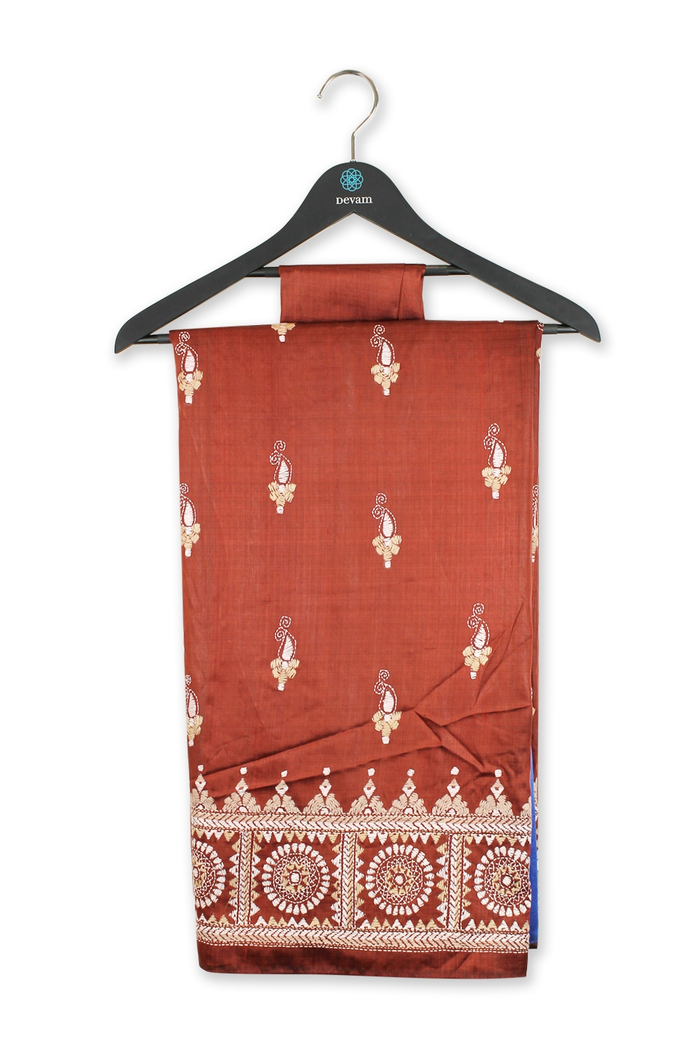 Red Shaded Leaf Hand Embroidered Silk Kantha Work Saree