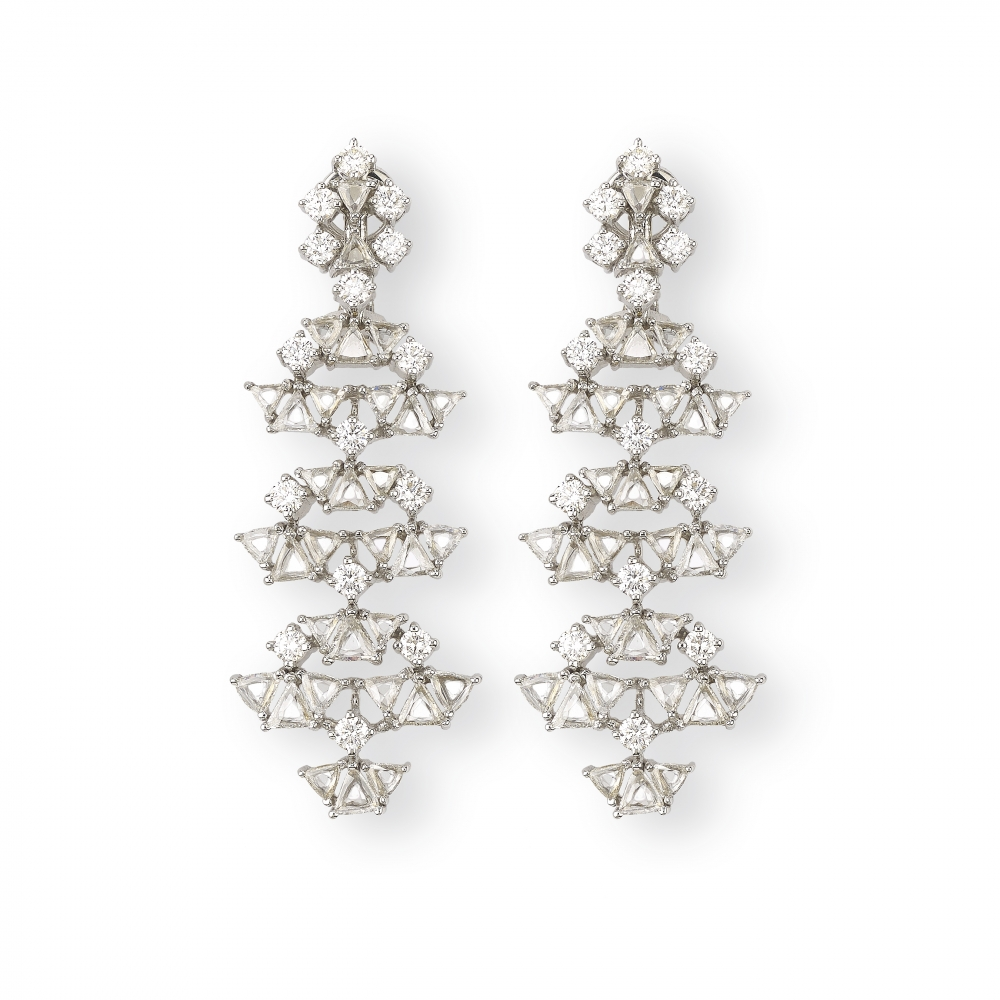18kt Golden Diamond Tree Earrings