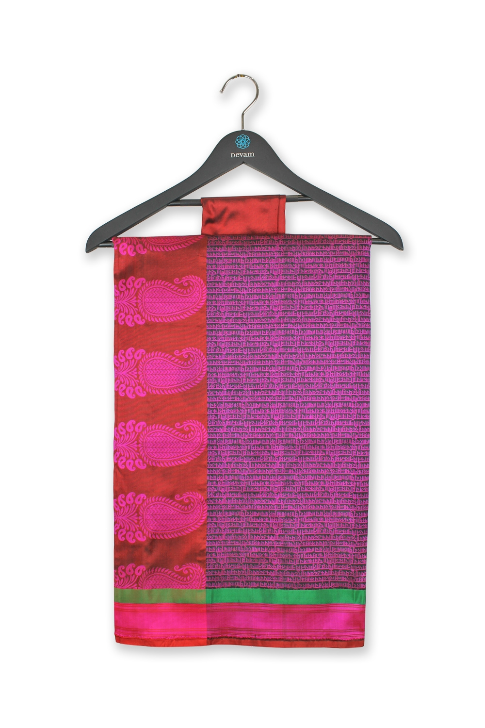 Fuchsia Sanskrit Scroll Silk Banarasi Saree