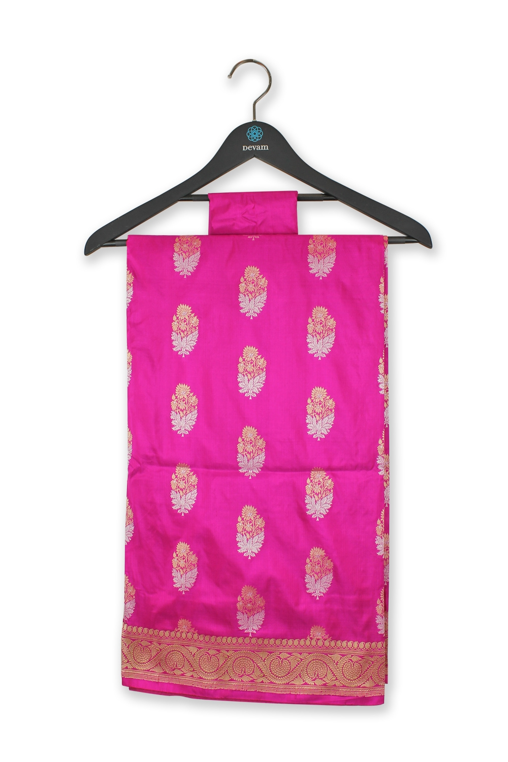 Hot pink Golden Silver Floral Bouquet Silk Banarasi Saree
