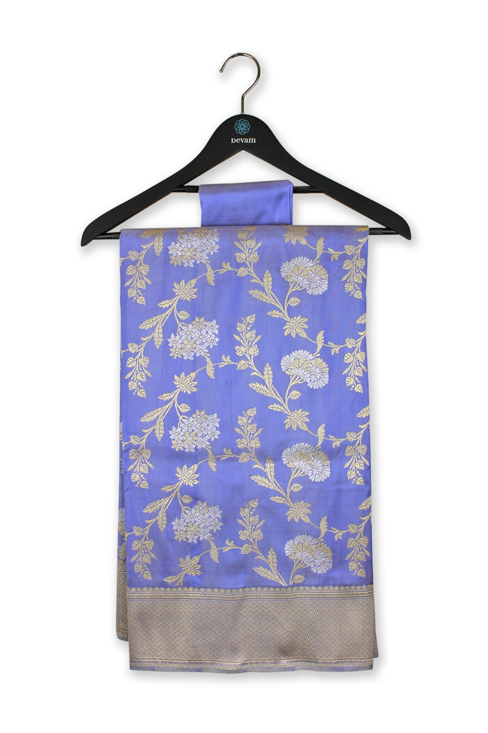 Lavender Blue Silk Banarasi Saree