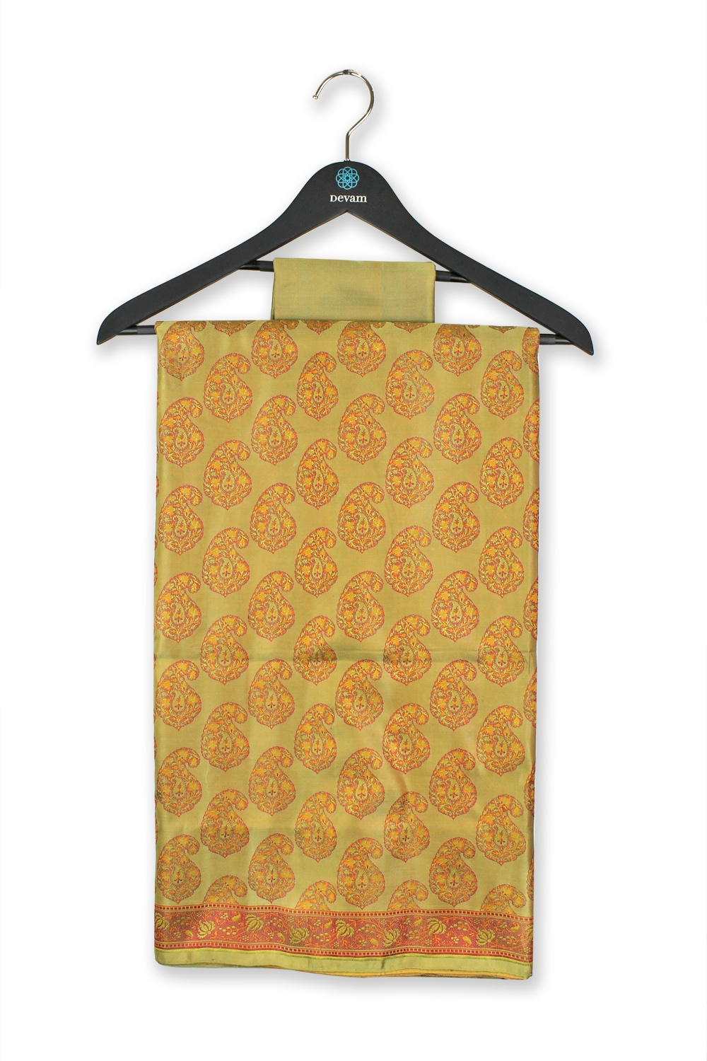 Lemony Yellow Mango Motif Silk Banarasi Saree
