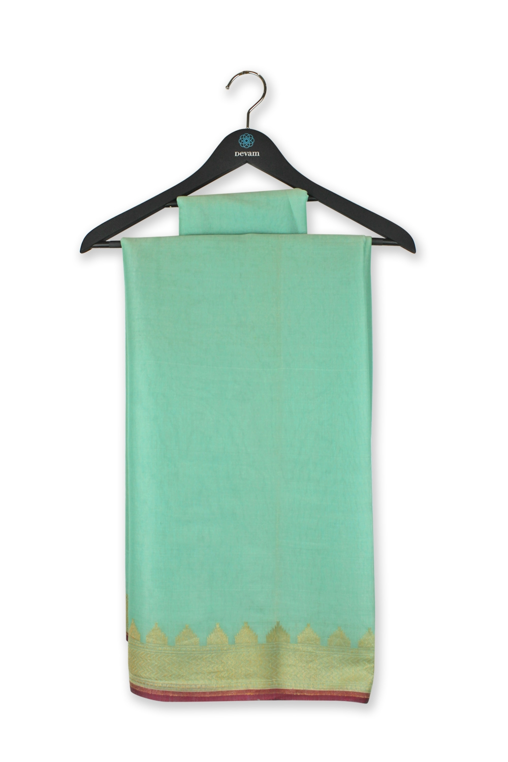 Light Teal Colored Silk Banarasi Saree