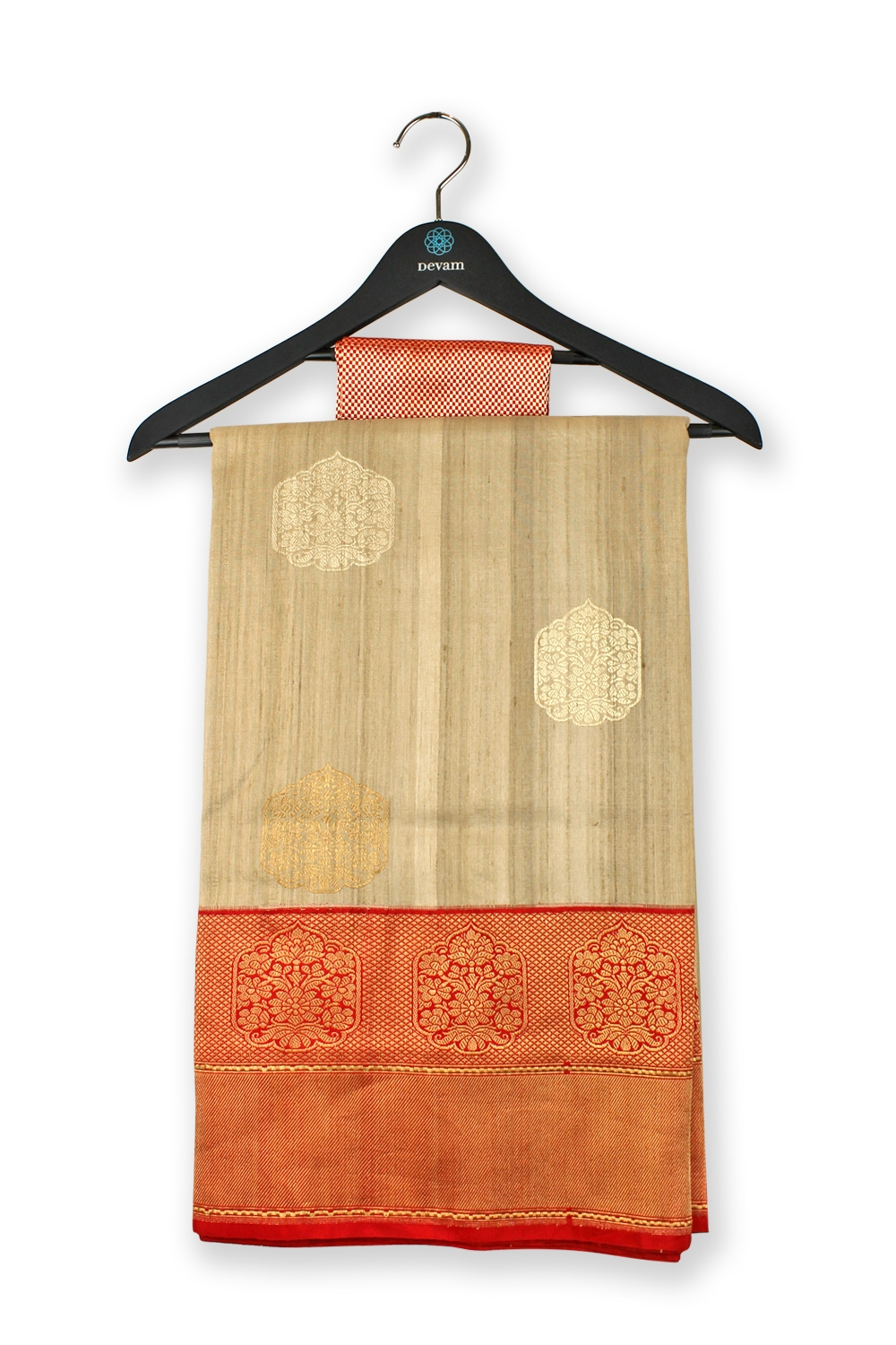 Golden Beige Handloom Medallion Silk Banarasi Saree