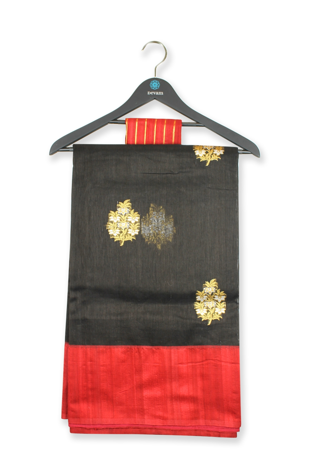 Black And Red Banarasi Kora Silk Saree