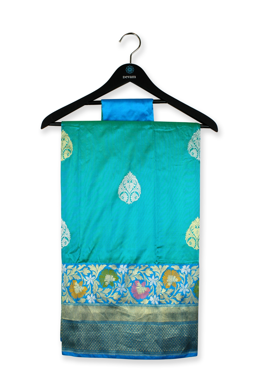 Sea Green Teal Silk Banarasi Saree