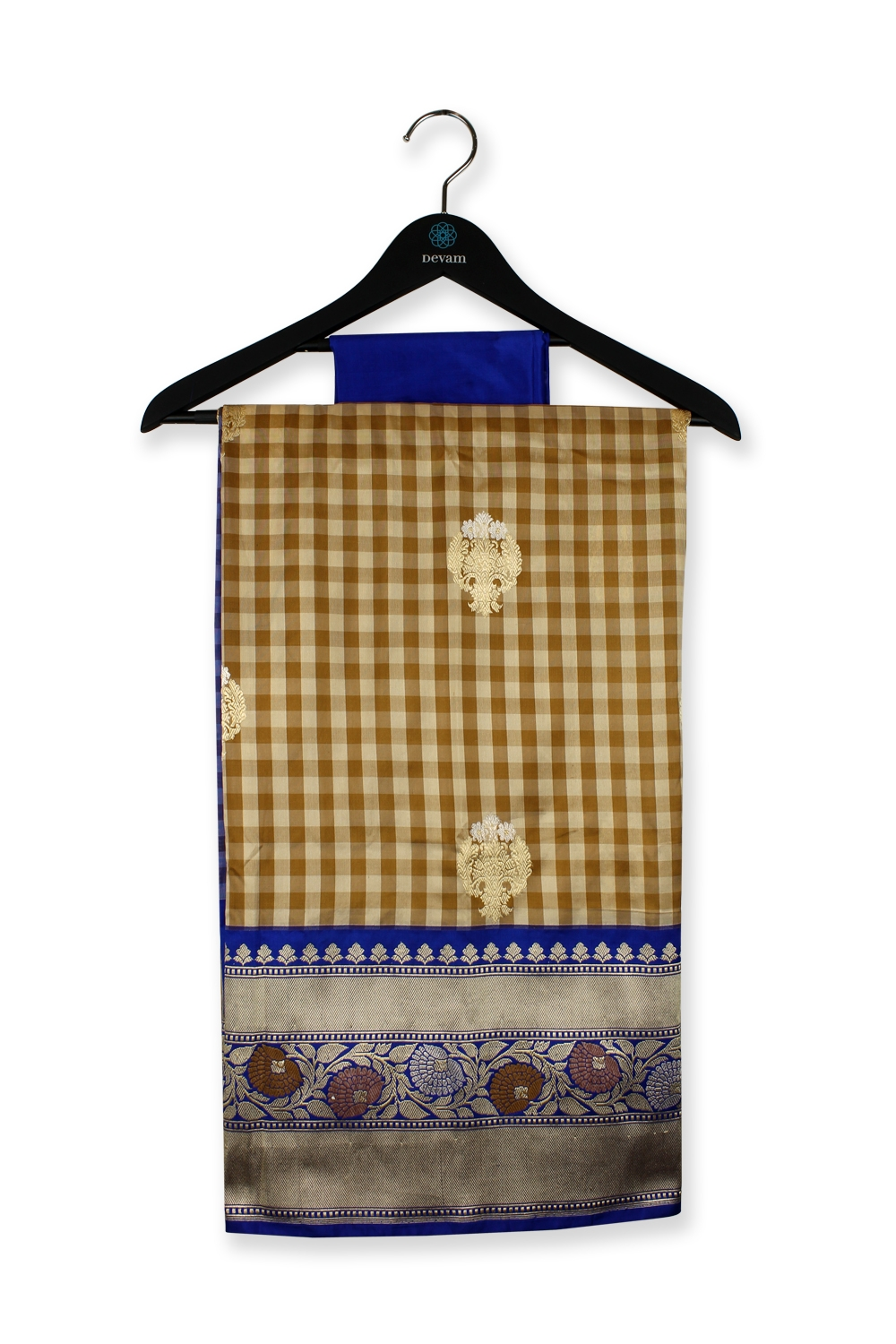 Beige And Blue Checkered Silk Banarasi Saree