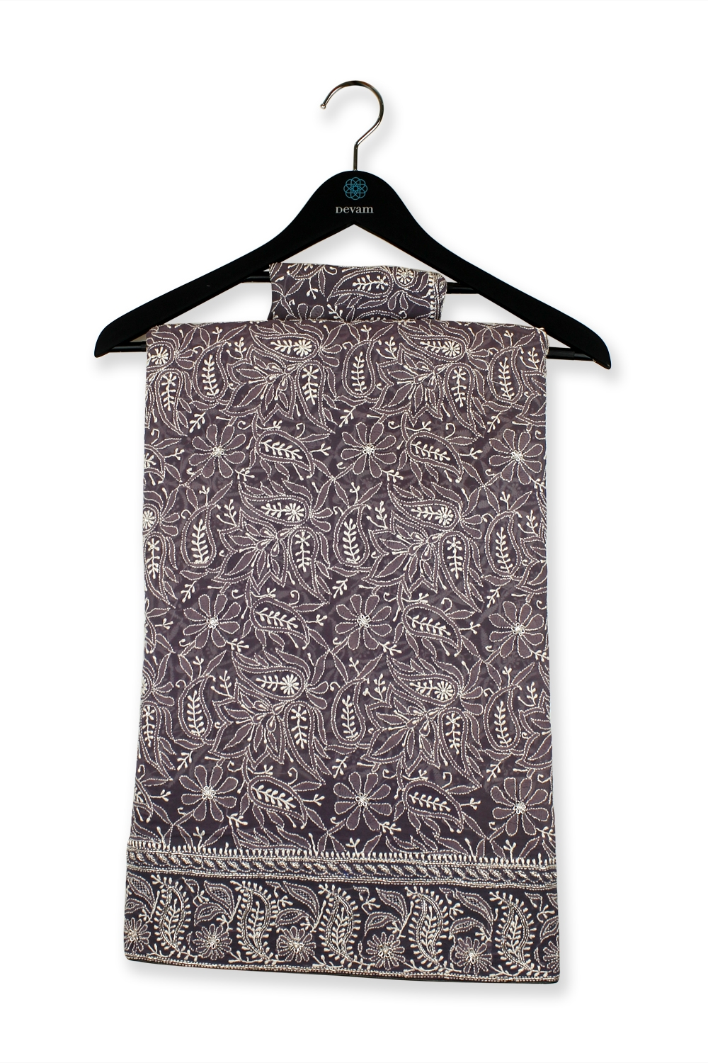 Exquisite Gray Hand Embroidered Lucknowi Saree