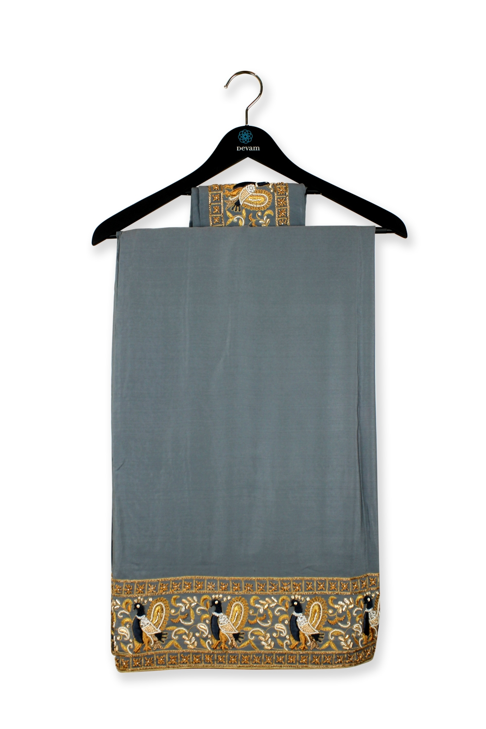 Deep Gray Crepe Silk Saree