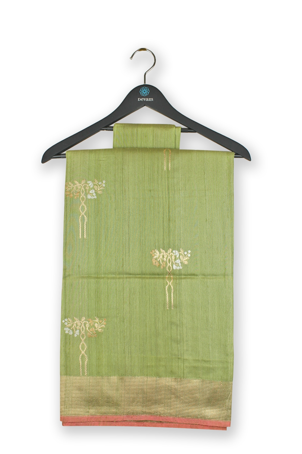Light Green & Gold Handloom Muga Silk Banarasi Saree