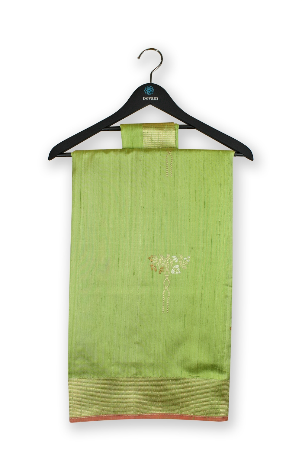 Pale Green & Golden Handloom muga Silk Banarasi Saree