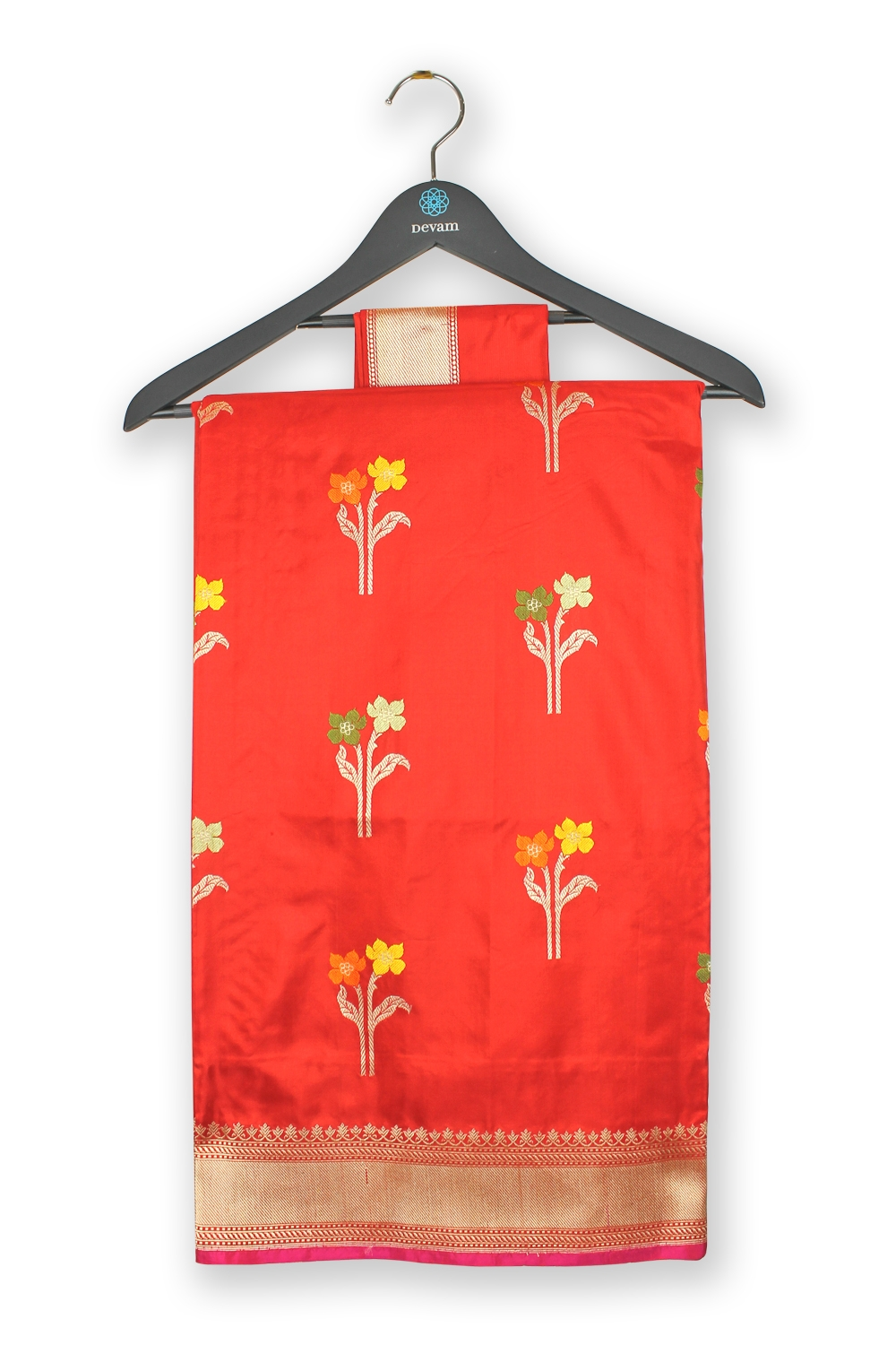 Adobe Red Floral Motif Katan Silk Banarasi Saree