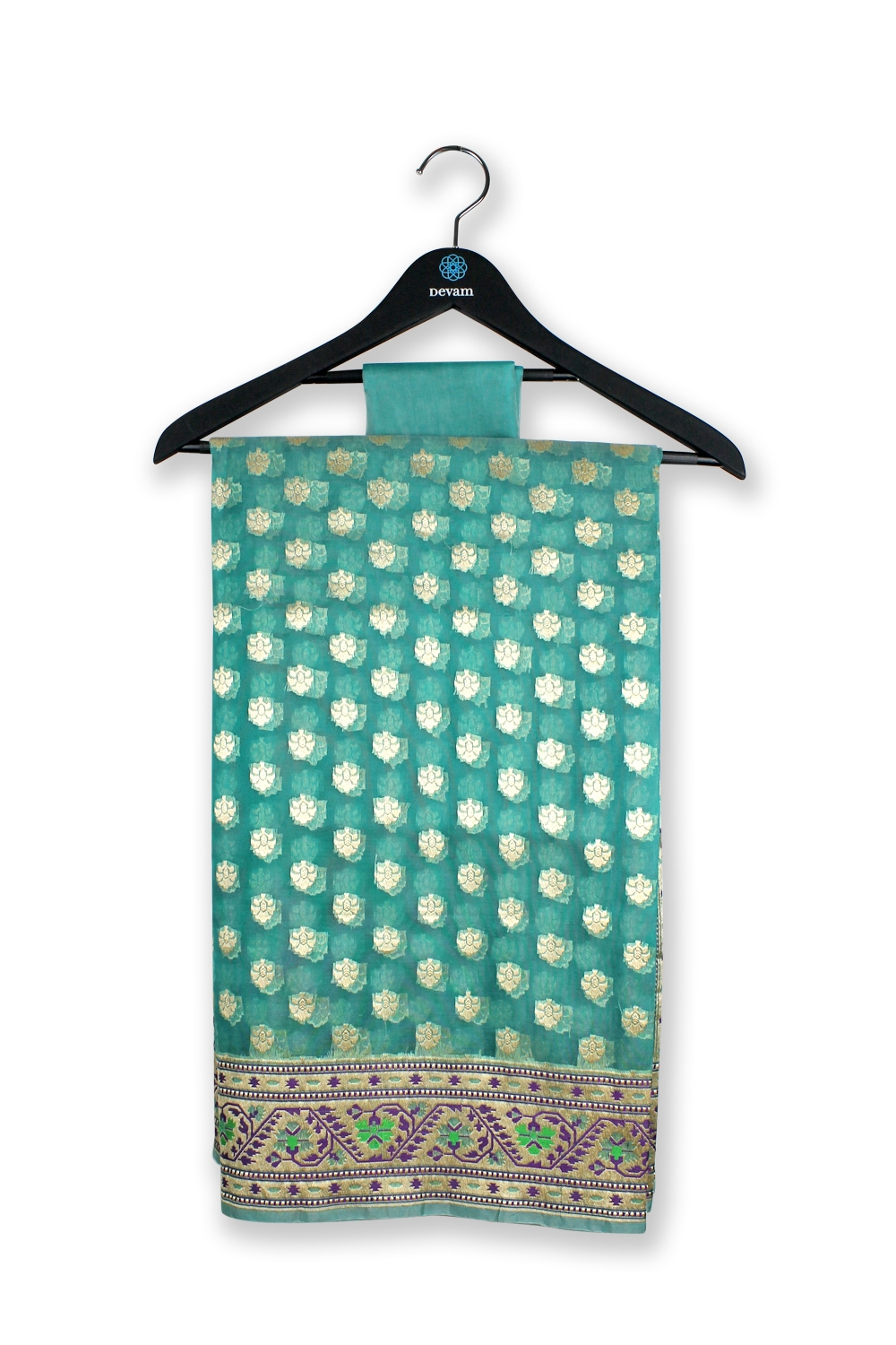 Teal Kora Silk Banarasi Saree