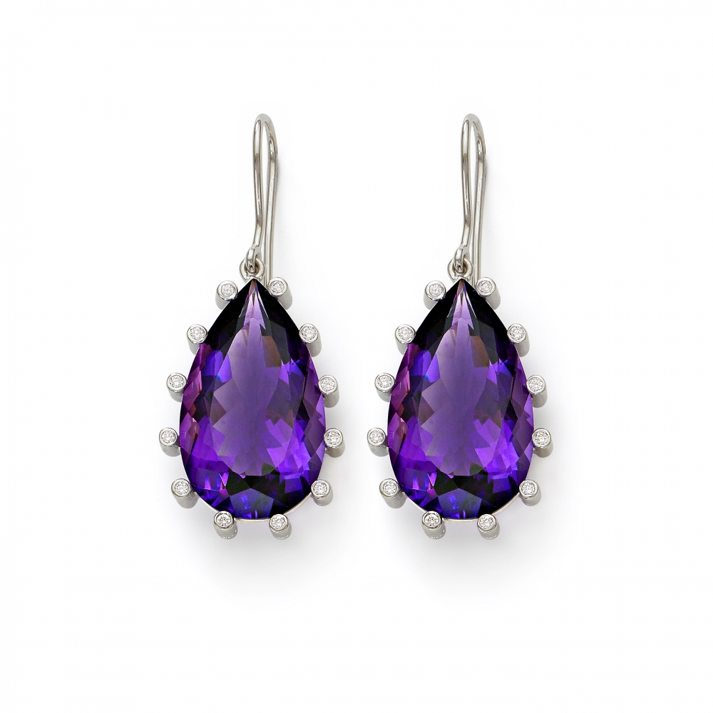 Purple Amethyst Pear Shape Drop Earrings