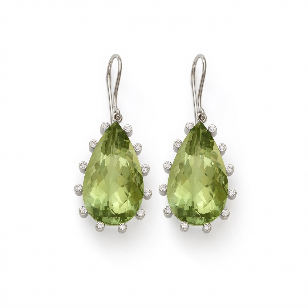 Green Amethyst Pear Shape Earrings