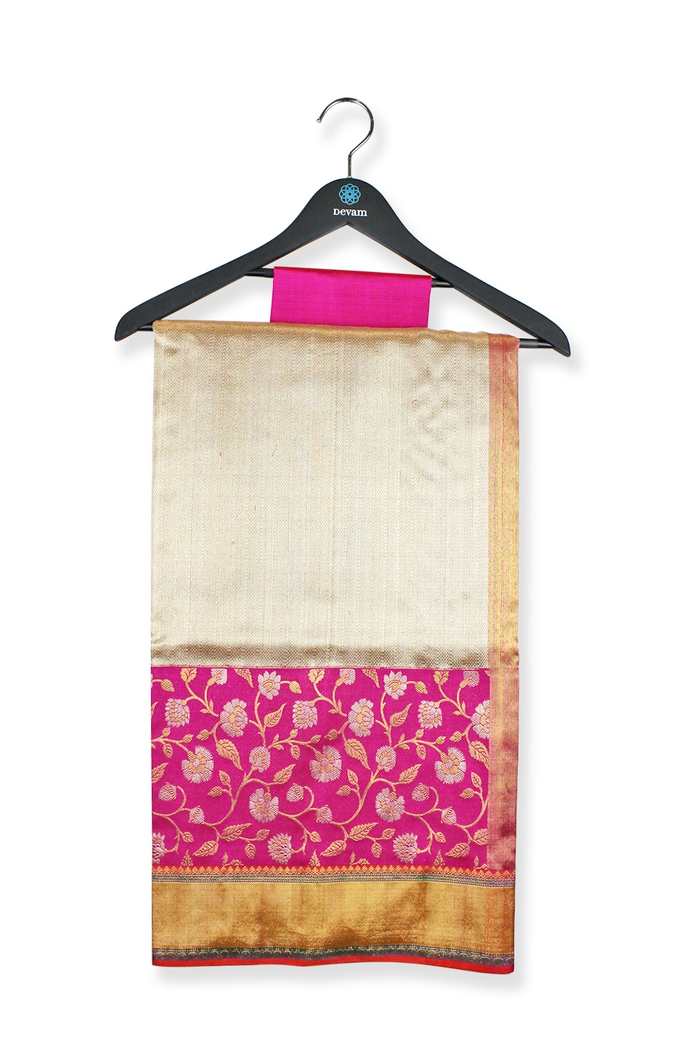 Real Jari Golden Pink Floral Silk Kanjeevaram Saree
