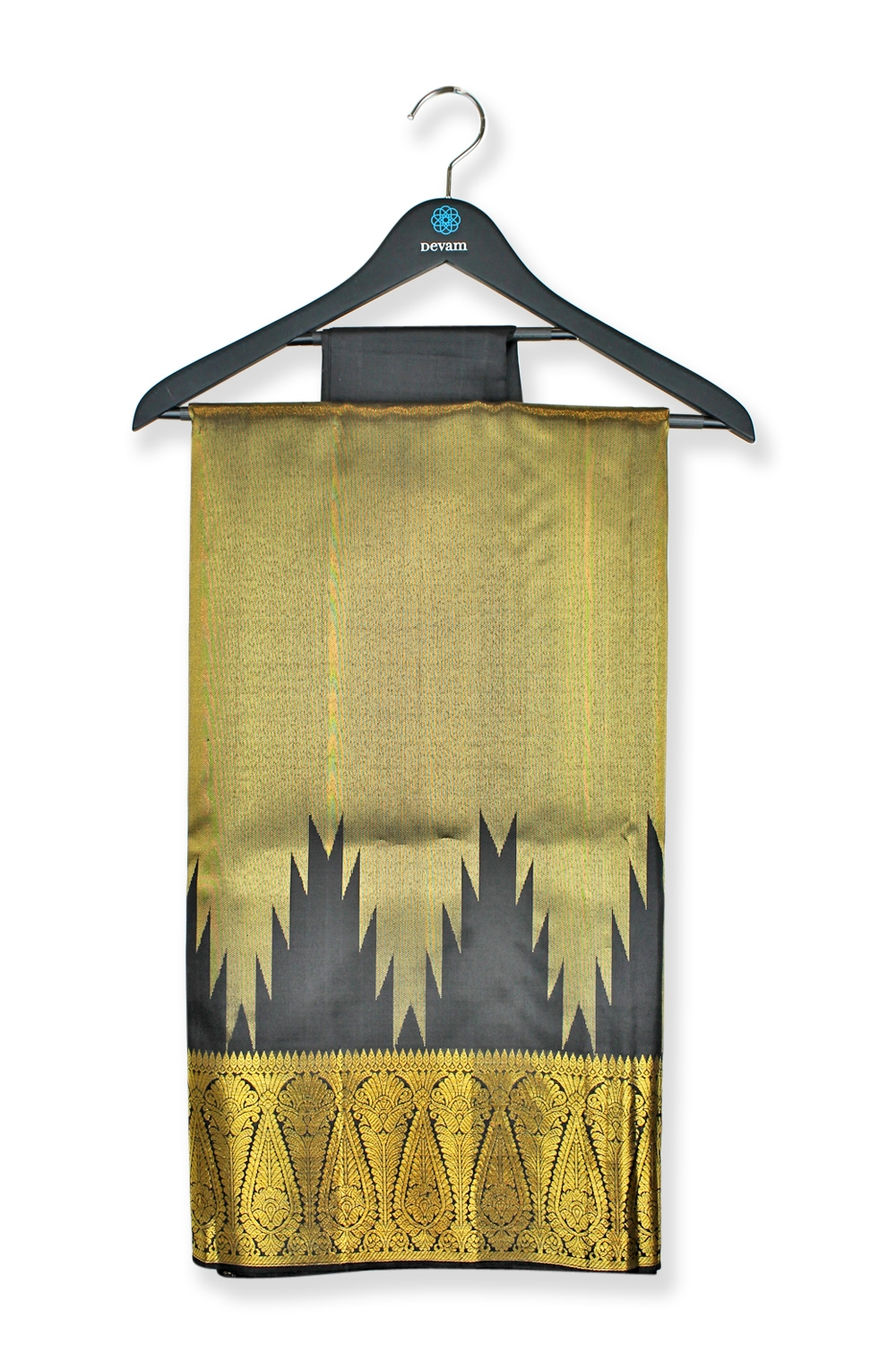 Real Jari Golden Gray Mango Silk Kanjeevaram Saree