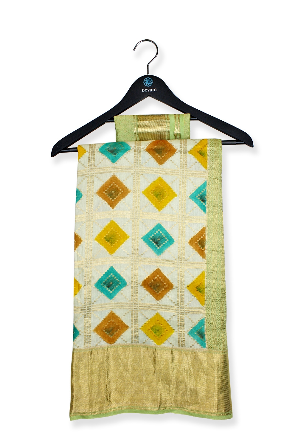 Multicolor Diamond Checkered Silk Banarasi Saree