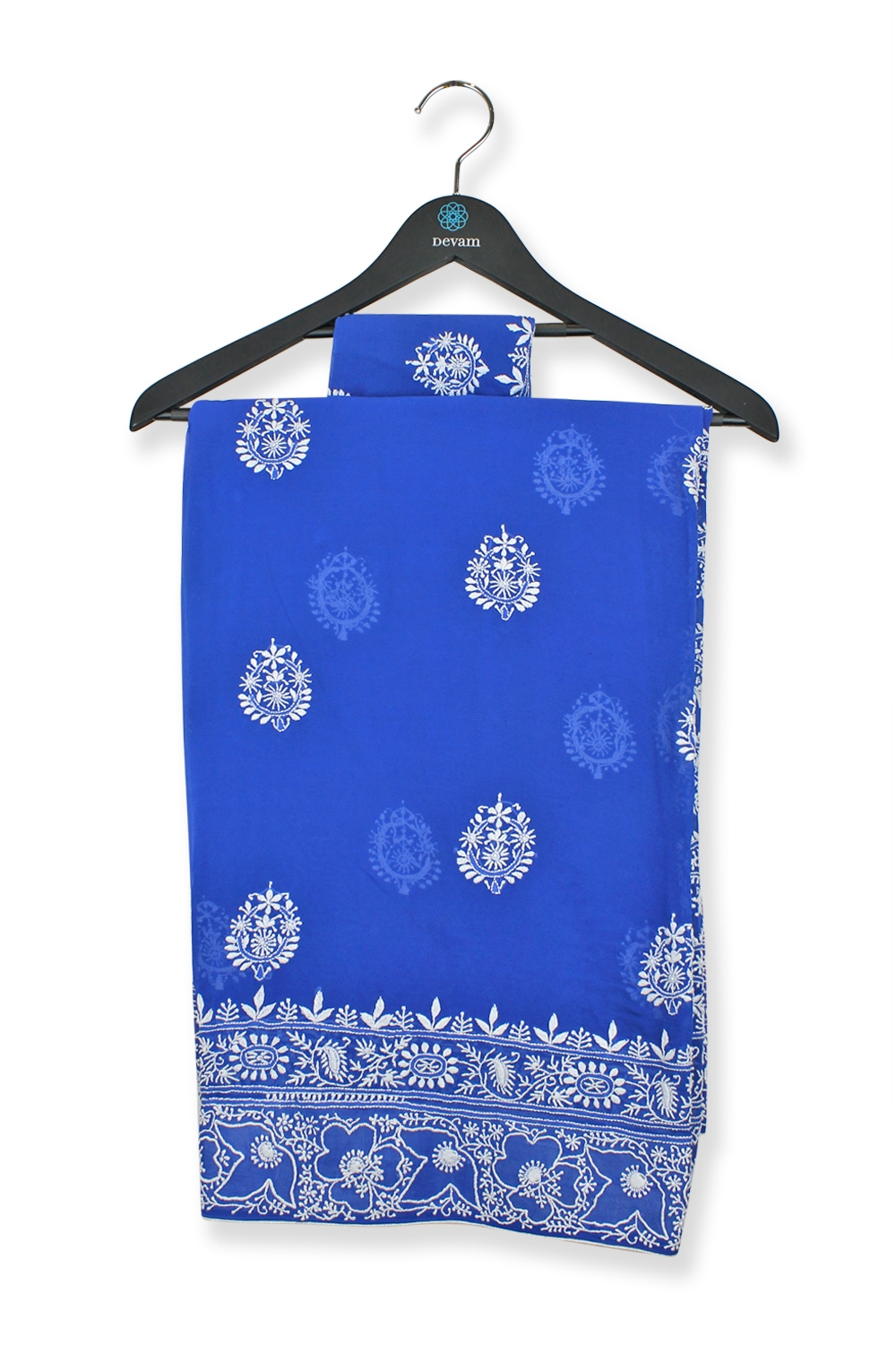 Deep Blue Lucknowi Embroidered Georgette Saree