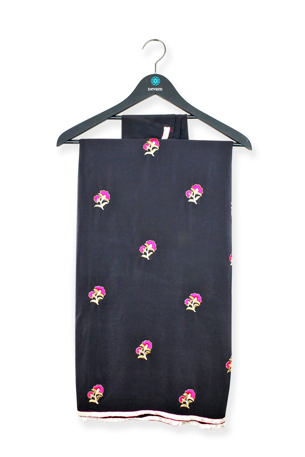 Black Crepe Silk Hand Embroidered Floral Saree