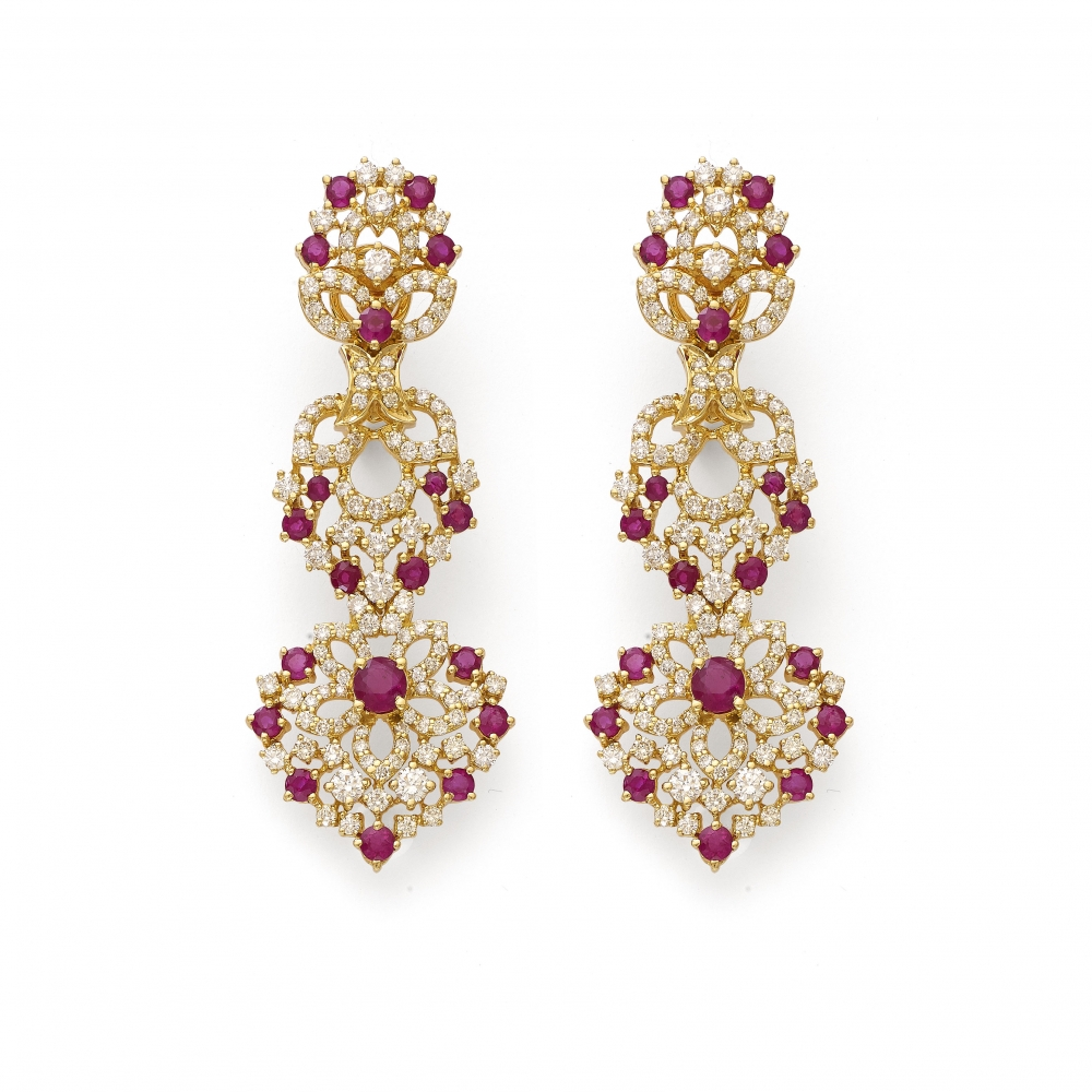 Ruby Diamond Wreath Golden Earrings
