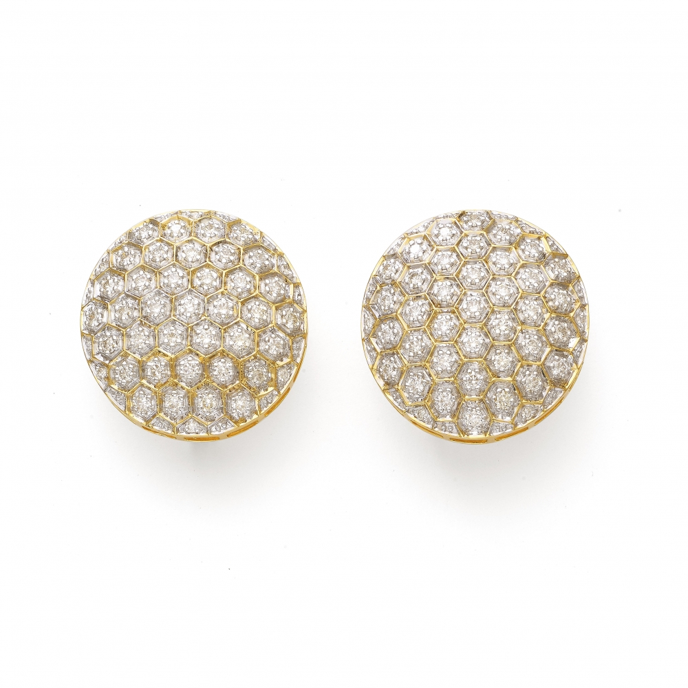 Promenade Contemporary 18k Diamond Stud Earrings