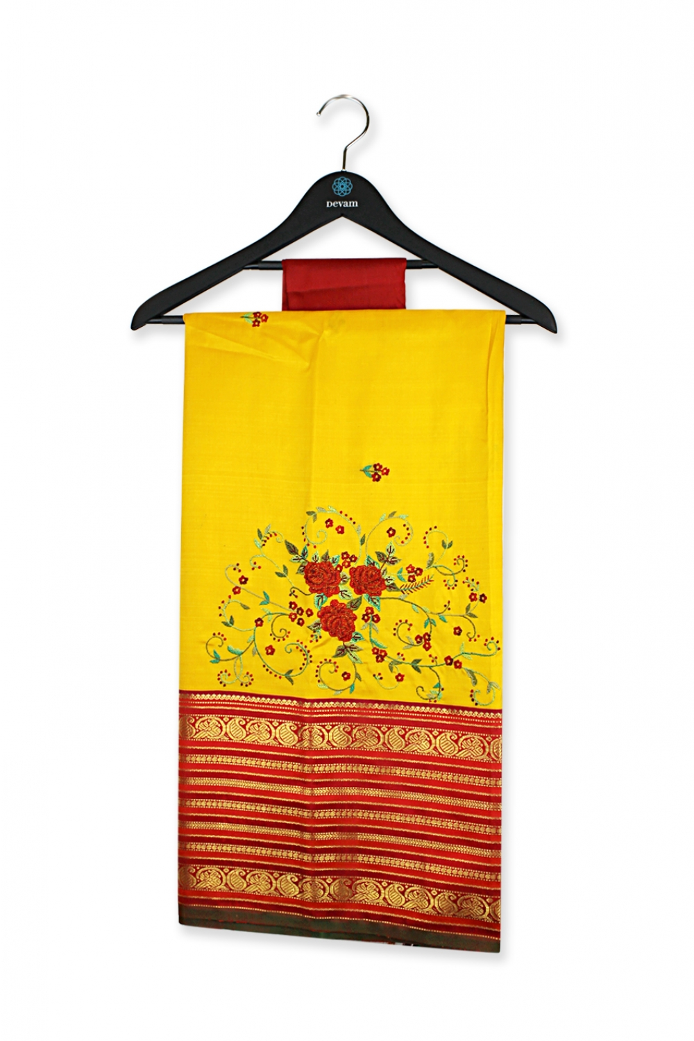 Rose Yellow Hand Embroidered Silk Saree