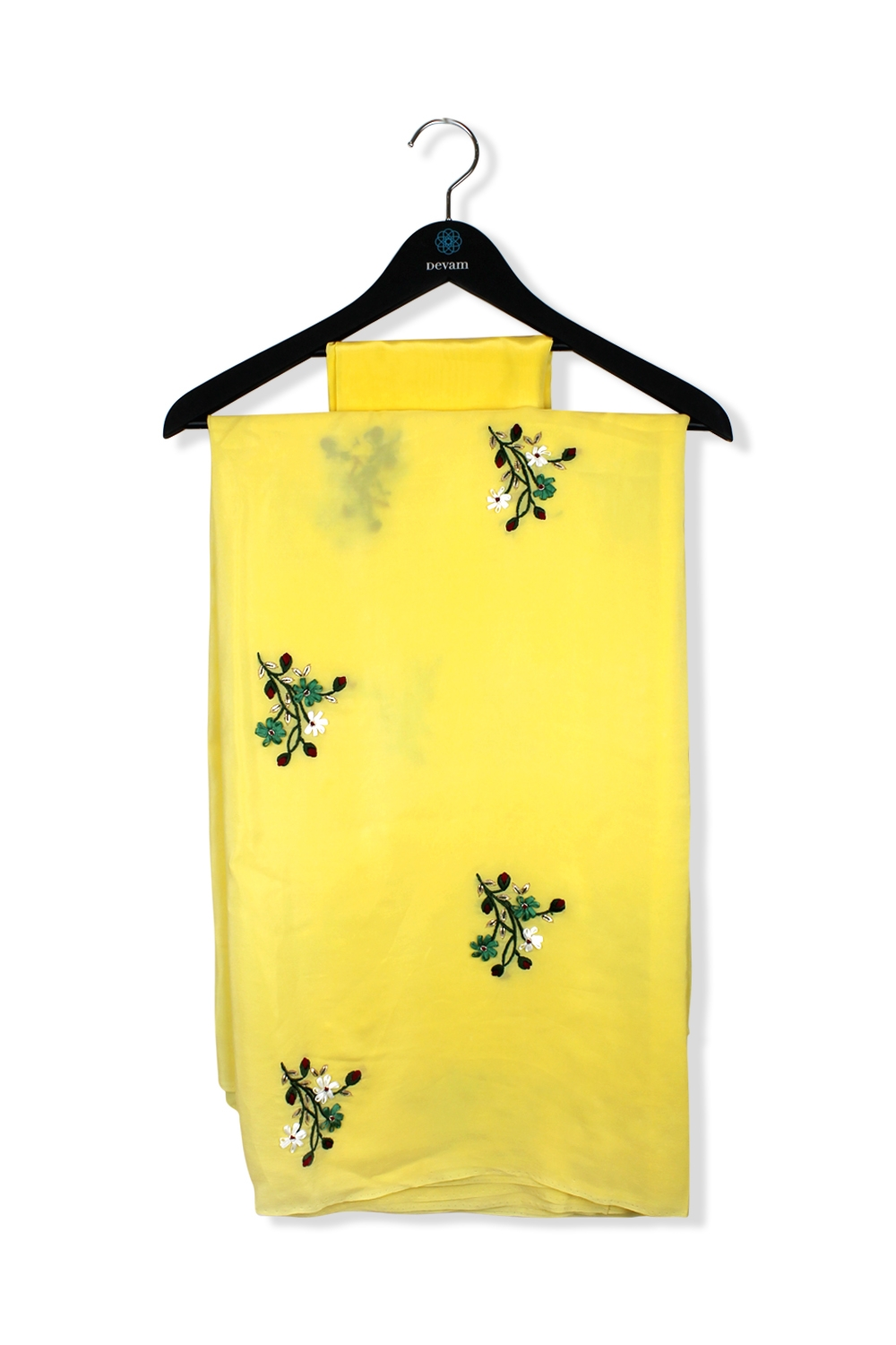 Lemony Hand Embroidered Silk Saree