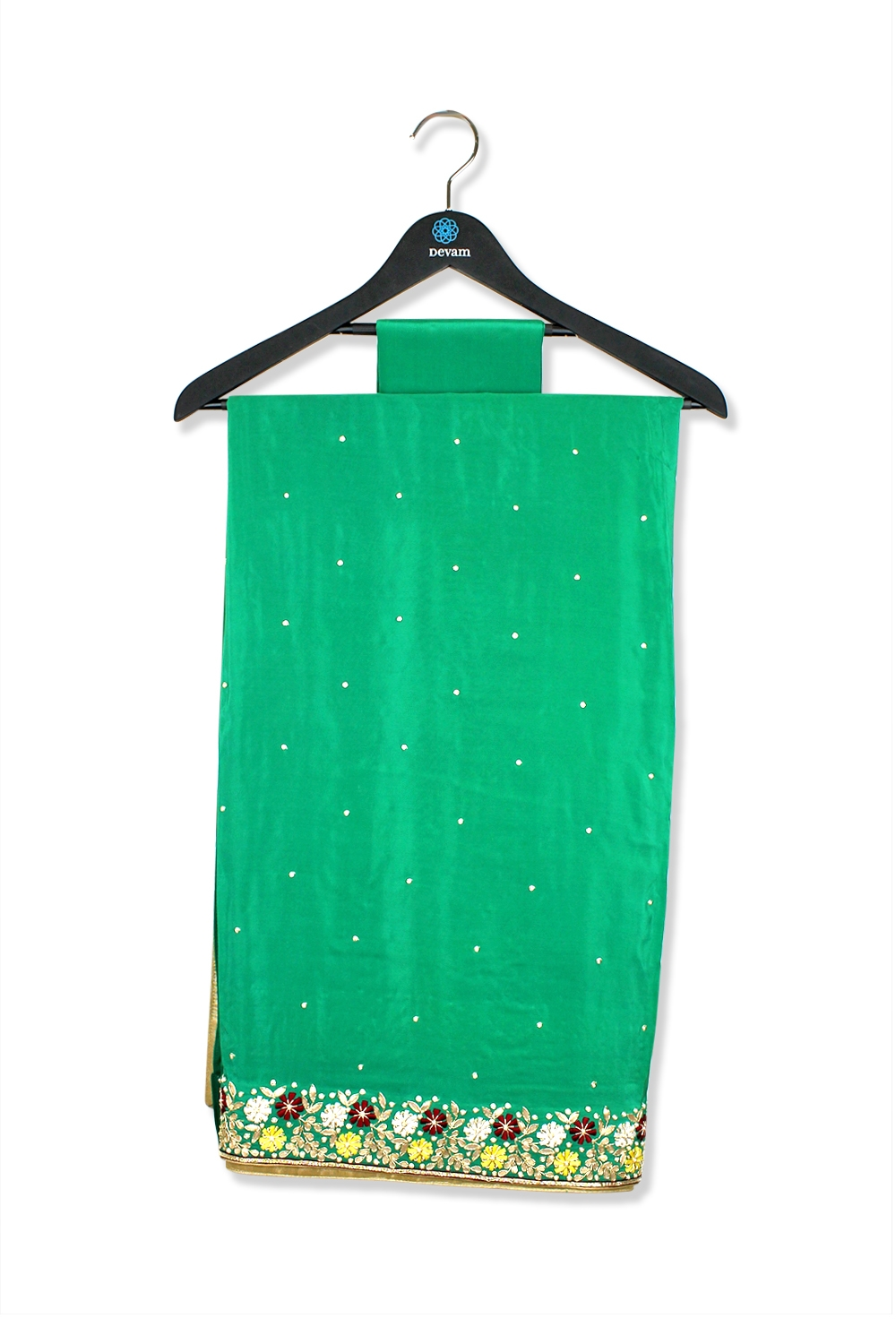 Light Green Garden Hand Embroidered Silk Saree