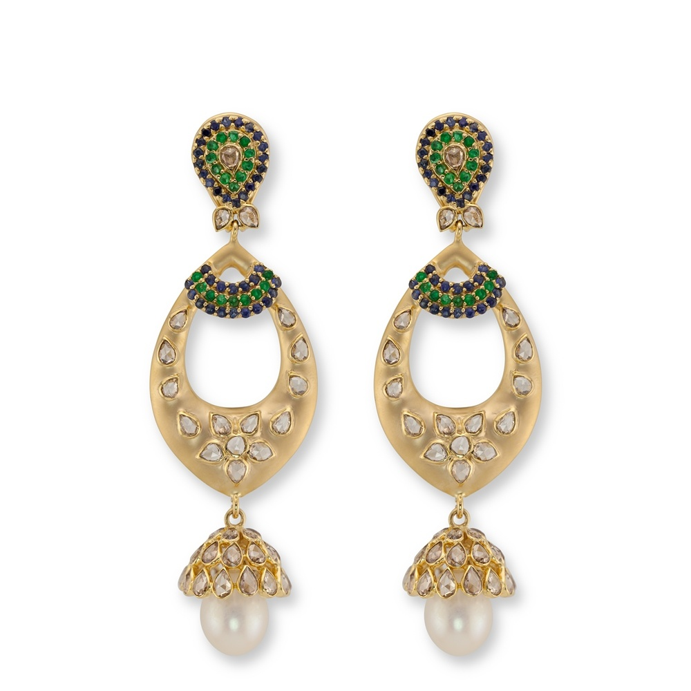 gold dsc index studded jhumkas pearls polki floral jhumka diamond