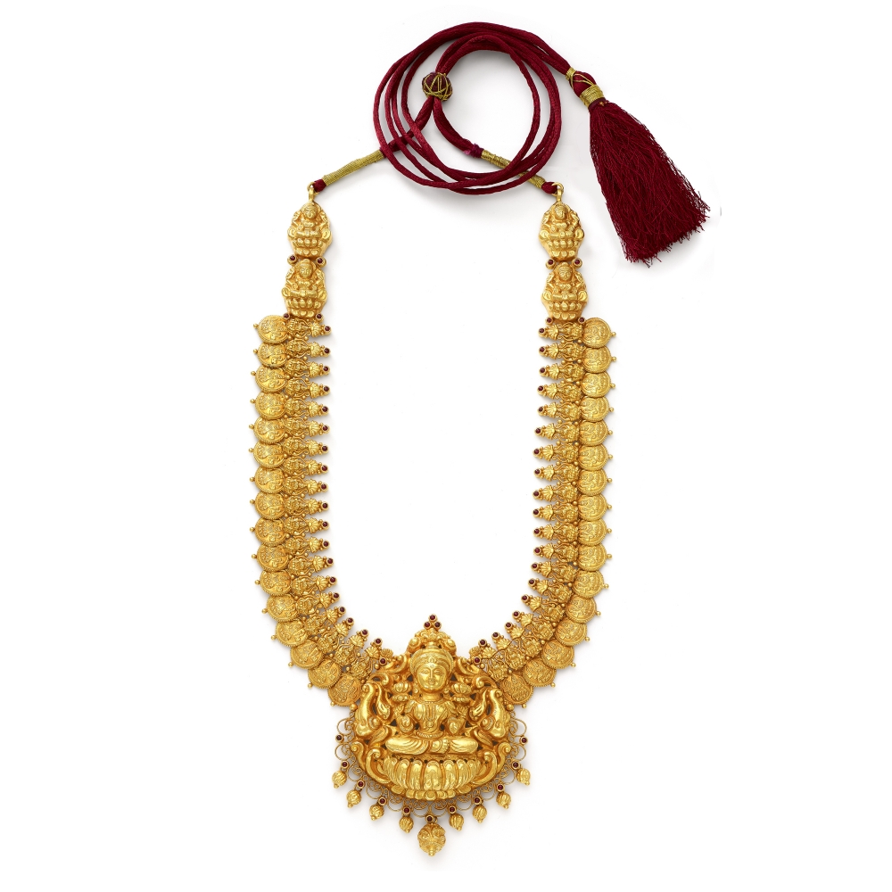 22k Golden Temple Style Lakshmi Coin Necklace Set